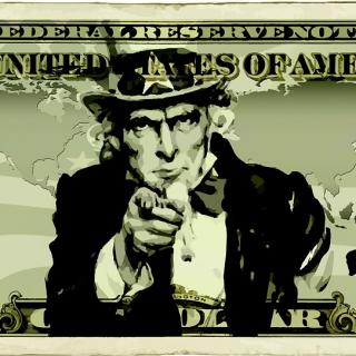 """Uncle Sam Wants You"" picture super-imposed over a dollar bill"