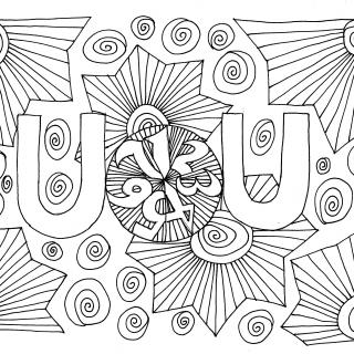 "a stylized ""doodle"" with fan-shaped designs, two ""U""s, and the numbers 1 through 7 in a circle"