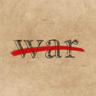 "The word ""war"" crossed out, signifying attempts to make war illegal"