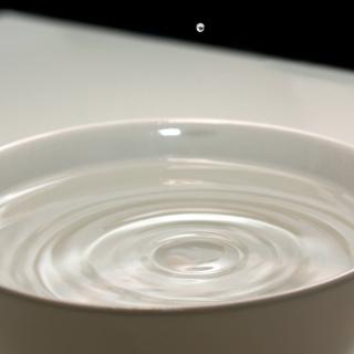 A tiny drop of water bouncing off of the surface of water in a bowl.
