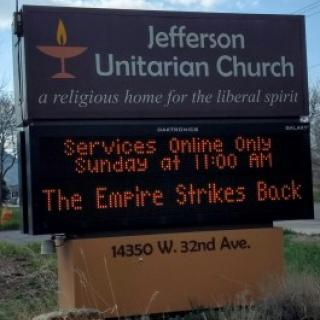 Roadside sign at Jefferson Unitarian Church in Golden, CO