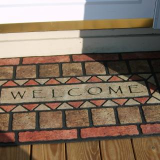 Welcome mat at a door.