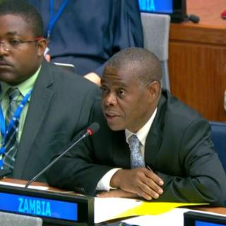 Ambassador Kapambwe from Zambia presents his statement during a meeting of the First Committee.