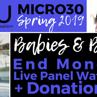 "Banner for BLUU #Micro30 Spring 2019 Babies & Bailouts ""End Money Bail Facebook Live Panel"" Watch Party + Donation Drives"