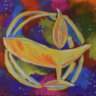 painting of a UU chalice over a splashy colorful background