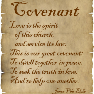 Covenant words by James Vila Blake on parchment paper