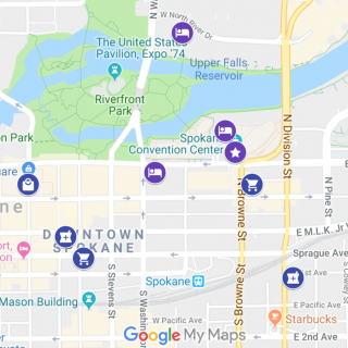 Screenshot of Google map showing highlighted locations for General Assembly 2019 in Spokane, Washington.