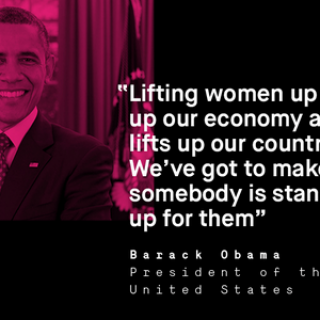 "Graphic featuring a pink picture of Pres. Barack Obama, the HeForShe logo, and the following quote from Pres. Obama: ""Lifting women up lifts up our economy and lifts up our country... We've got to make sure that... somebody is standing up for them"""