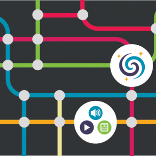 Icons showing resources connected by a colorful network.