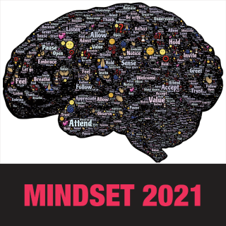 "The human brain, seen in profile, with the title, ""Mindset 2021"""