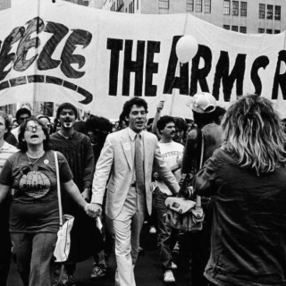 Demonstrators march toward Central Park during a massive rally for a nuclear arms freeze in New York City, New York, June 12, 1982
