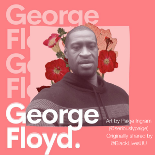 Memorial image of George Floyd, created by Paige Ingram