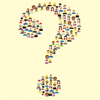 graphic of a question mark made of people's heads and shoulders