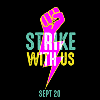 Global Climate Strikes graphic with lightning bolt fist and the words 'Strike With Us Sept 20'
