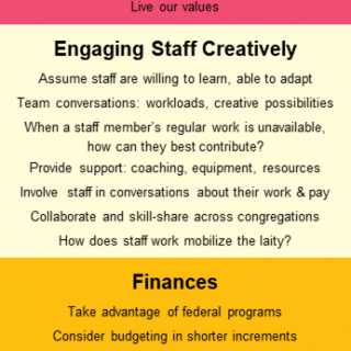 A graphic with key points about the importance of retaining staff, engaging staff creatively, and managing finances