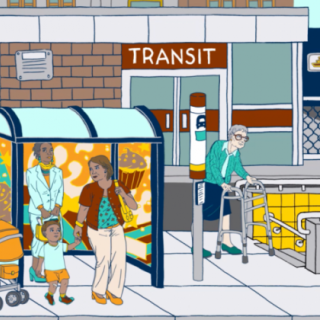 An illustration by Julia Minamata showing women utilizing city transit, including walking, waiting for the bus, and entering an entrance to ride the subway.