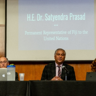 Picture of UU-UNO Dec '19 Panel from Left to Right: Dr. Scott Carlin, Long Island University's LIU Post, H.E.  Dr. Satyendra Prasad, Permanent Representative to Fiji, and Elham Youssefian, International Disability Alliance.