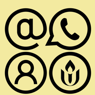 Image with email, phone and text message, contact, and UUA symbols