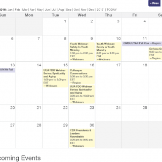 Screen shot of a webinar calendar