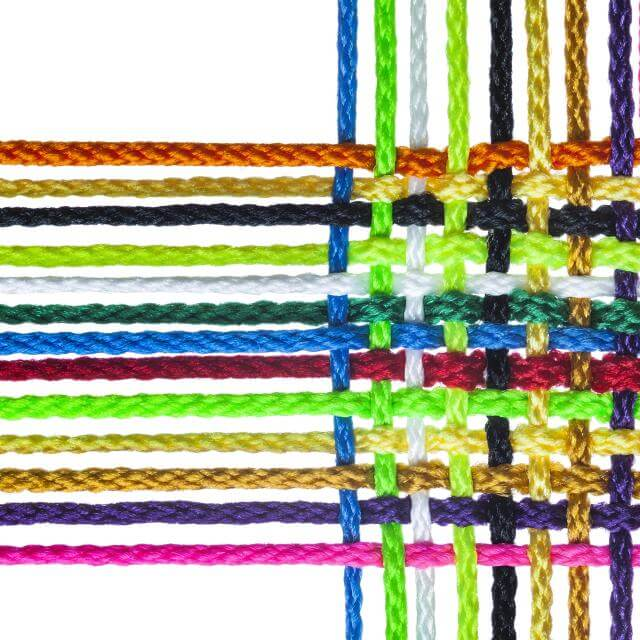 Stock photo of multi colored woven string