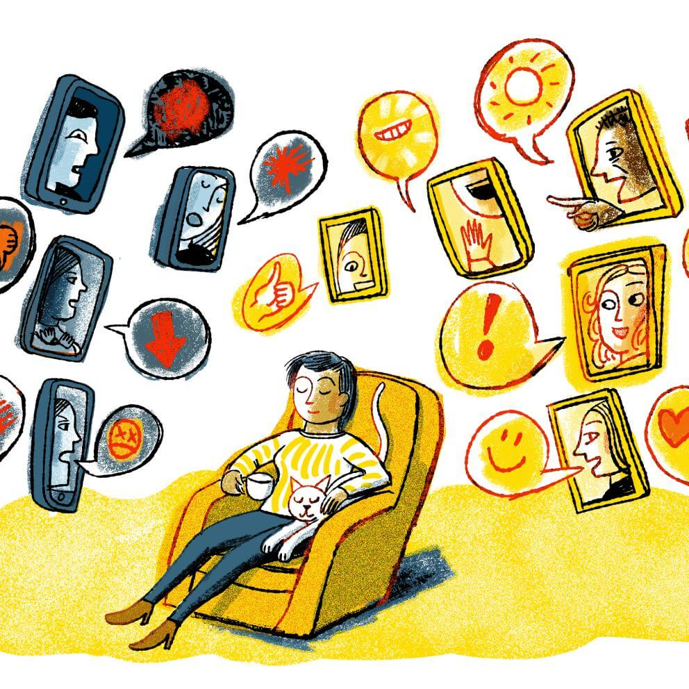 Illustration of a person sitting in a couch, eyes closed, with a cat and mug, looking content. Surrounding the person are screens with happy and sad faces with opinions, positive and negative.