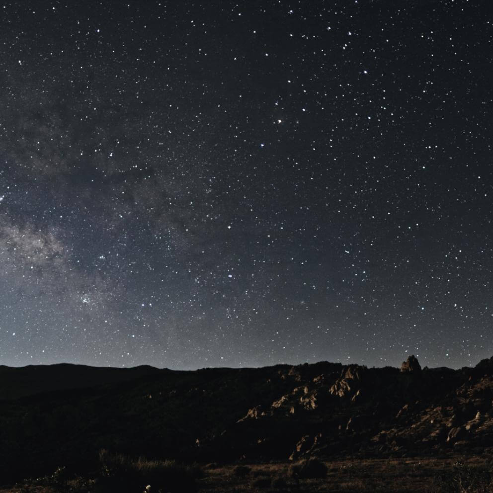The Milky way over the desert in the Sierra Nevada Mountains in California