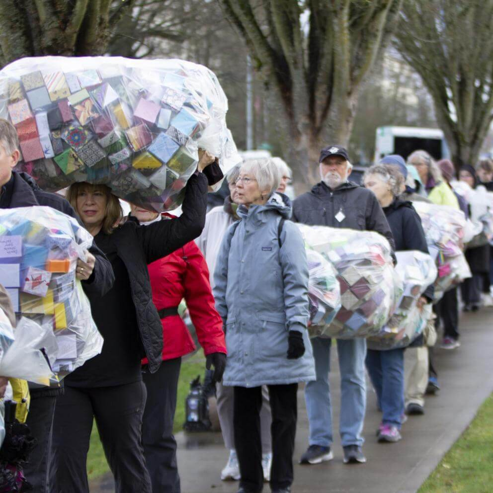 Volunteers deliver 36,000 Soul Boxes—one for every person killed by gunfire in the United States in 2018—to the Oregon State Capitol in February 2019.