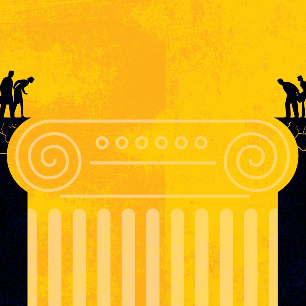Black and yellow illustration of two groups of people separated by a chasm that is formed by a grecian style column.