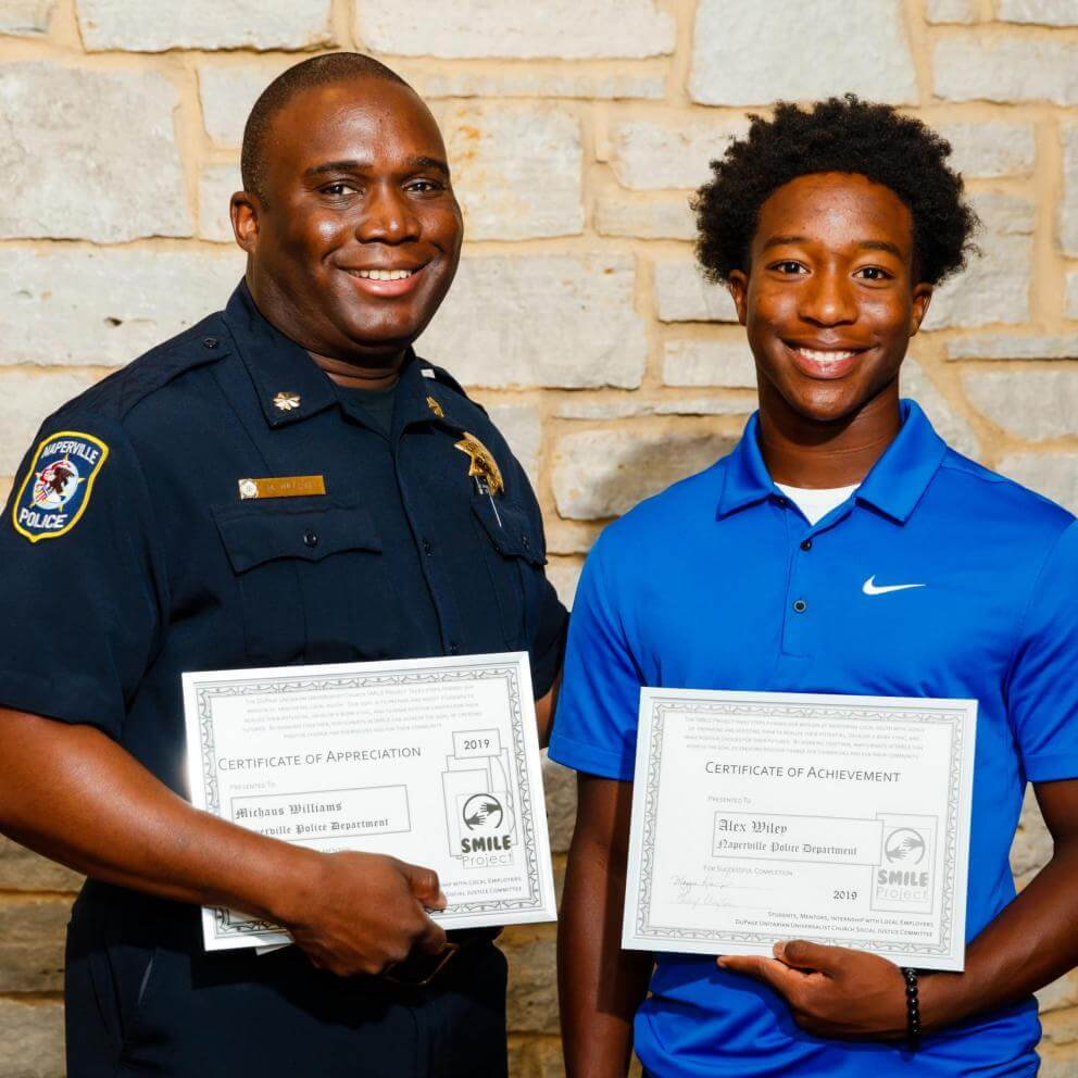 Commander Michaus Williams with mentee Alex Wiley, who spent four weeks interning with the Naperville Police.