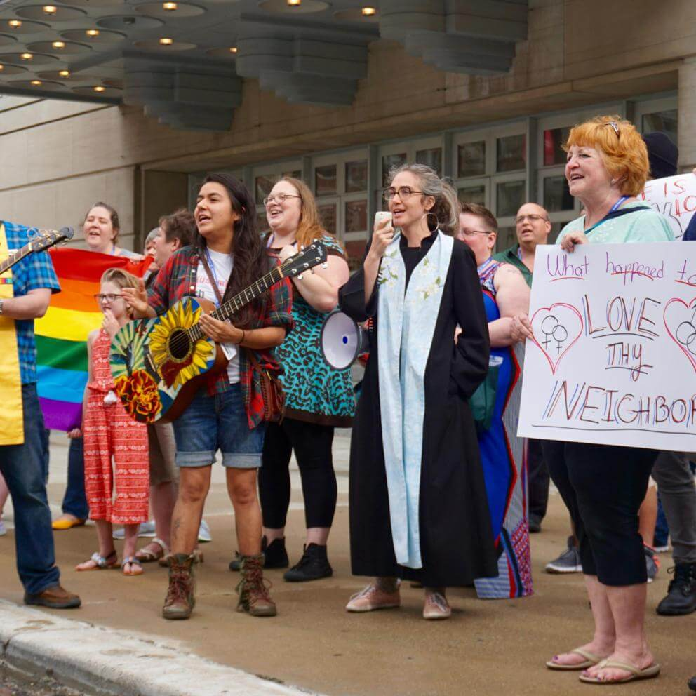Unitarian Universalists respond to an anti-LGBT group of protesters from Westboro Baptist Church on June 21, 2018.
