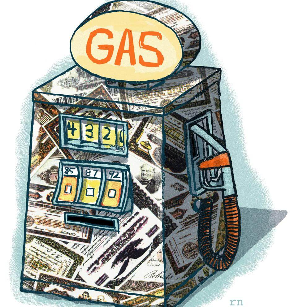 Illustration of gas pump papered with gas company shares.