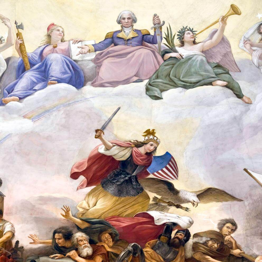Apotheosis of Washington: War  In this scene armored Freedom, sword raised and cape flying, with a helmet and shield reminiscent of those on the Statue of Freedom, tramples Tyranny and Kingly Power; she is assisted by a fierce eagle carrying arrows and a