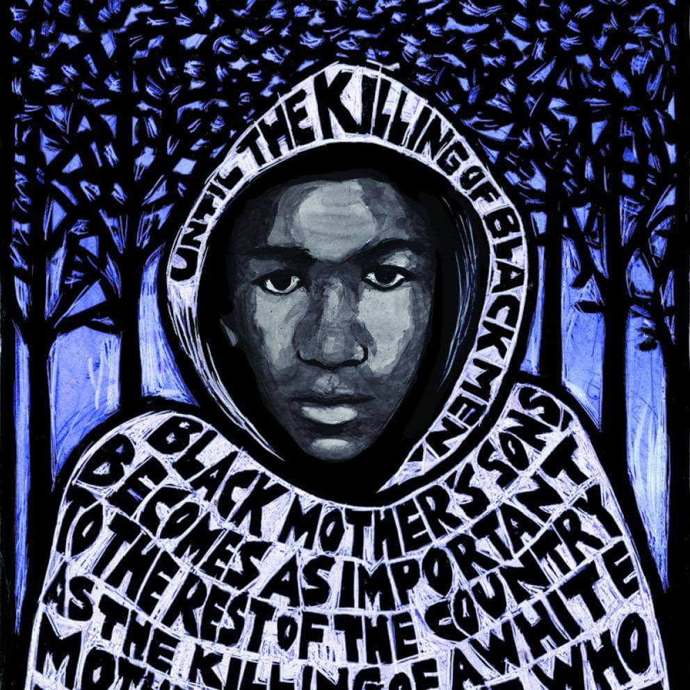 illustration of Trayvon Martin in a hoodie with the text of Ella Baker incorporated