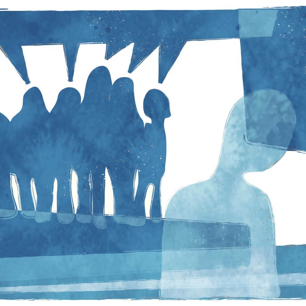 illustration in blue of abstract figure being bullied