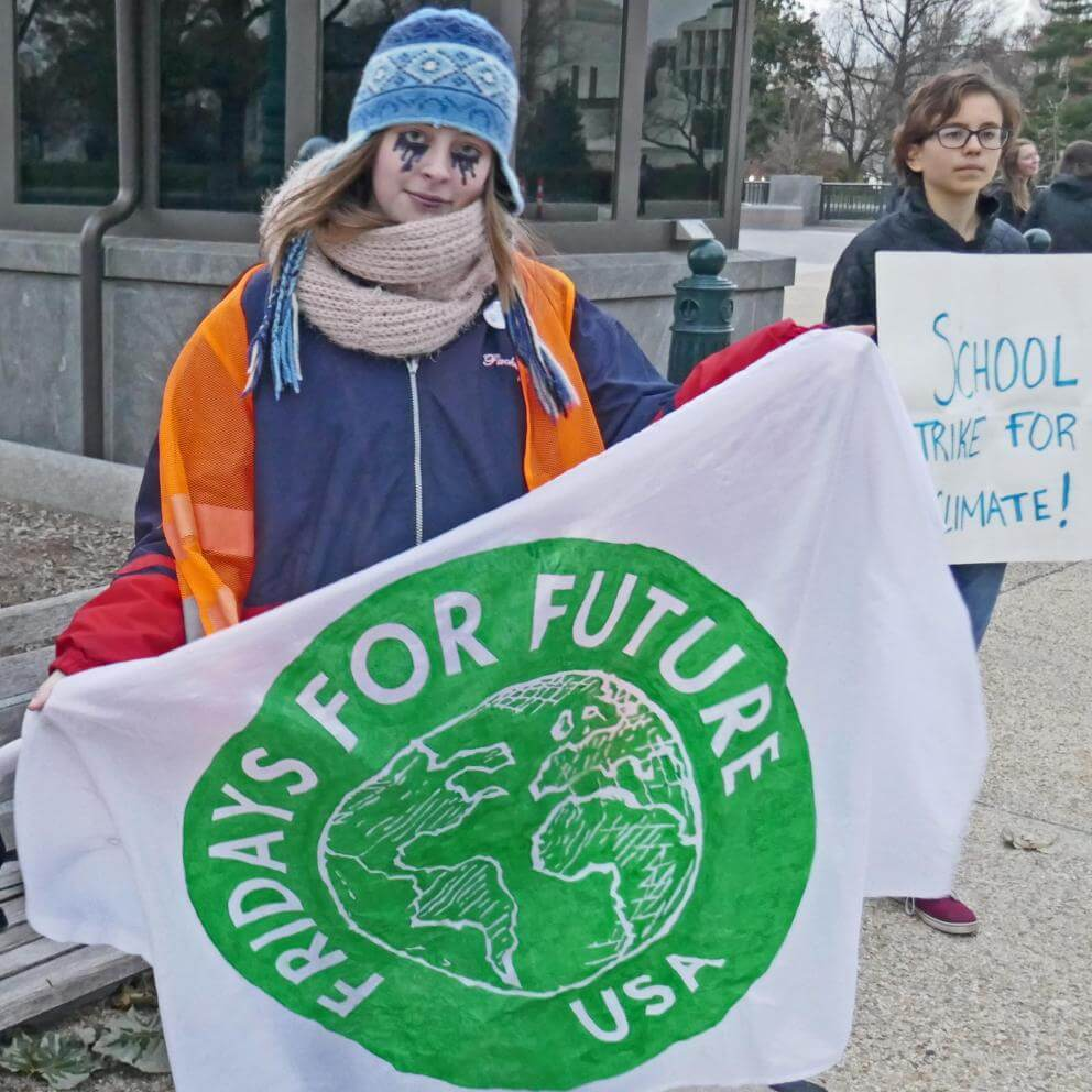 Photo of Sophia Geiger, a teen who participated in the Fridays for Future weekly school strikes for the climate at the U.S. Capitol on December 6, 2019.