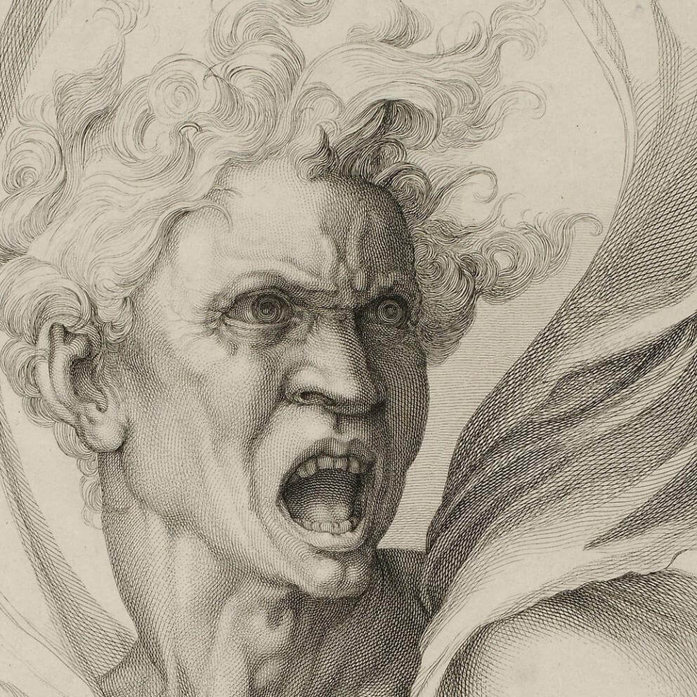 "William Sharp, ""Evil"", 1816. The Art Institute of Chicago. An engraving of a man's face contorted in rage. Black and white."
