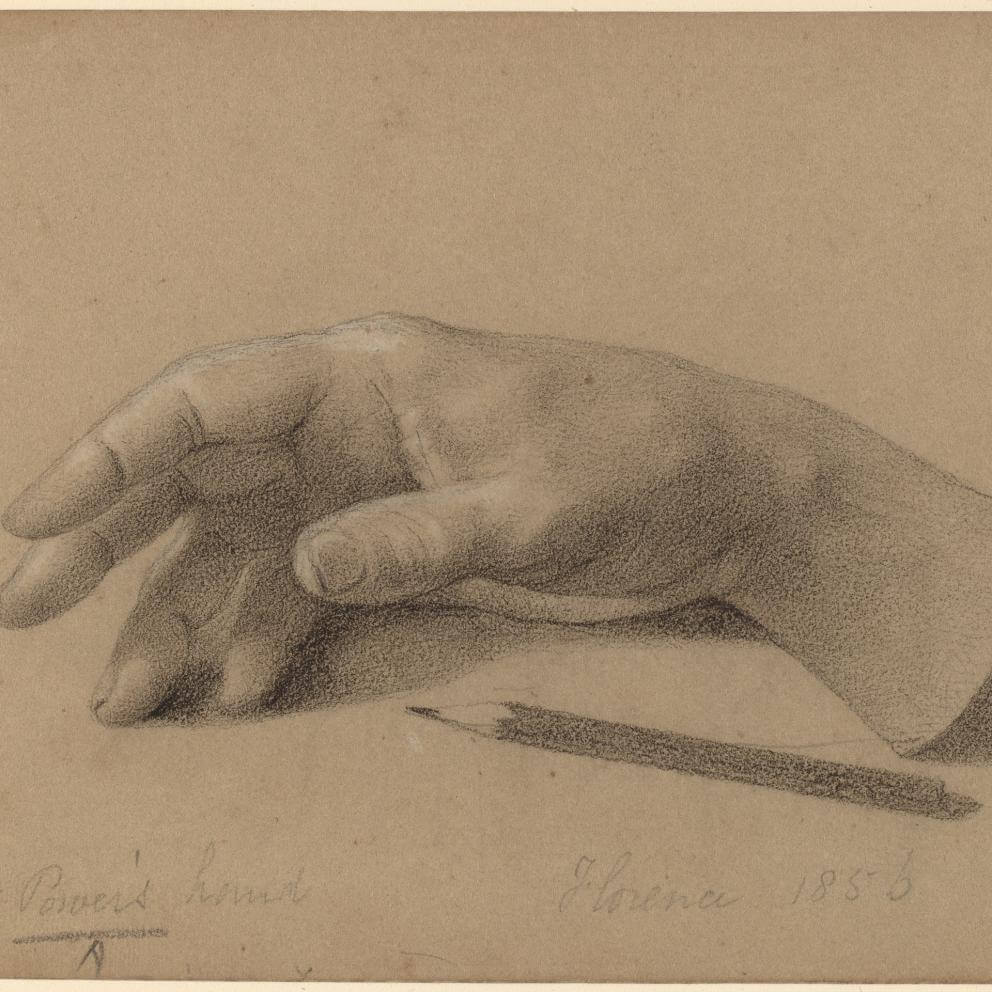 R-20120229-0021.jpg Hiram Powers American, 1805 - 1873 Study of a Hand, 1856 charcoal heightened with white chalk on green wove paper sheet: 11.2 × 17.6 cm (4 7/16 × 6 15/16 in.) John Davis Hatch Collection, National Gallery of Art.