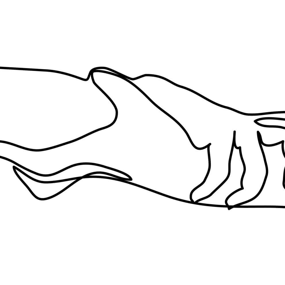 a black and white single line drawing of two hands holding each other.