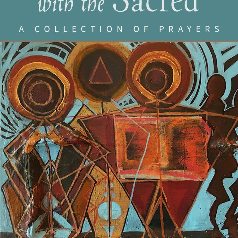 "Cover of book ""Conversations with the Sacred,"" edited by  Manish Mishra- Marzetti and Jennifer  Kelleher (Skinner House, 2020)."