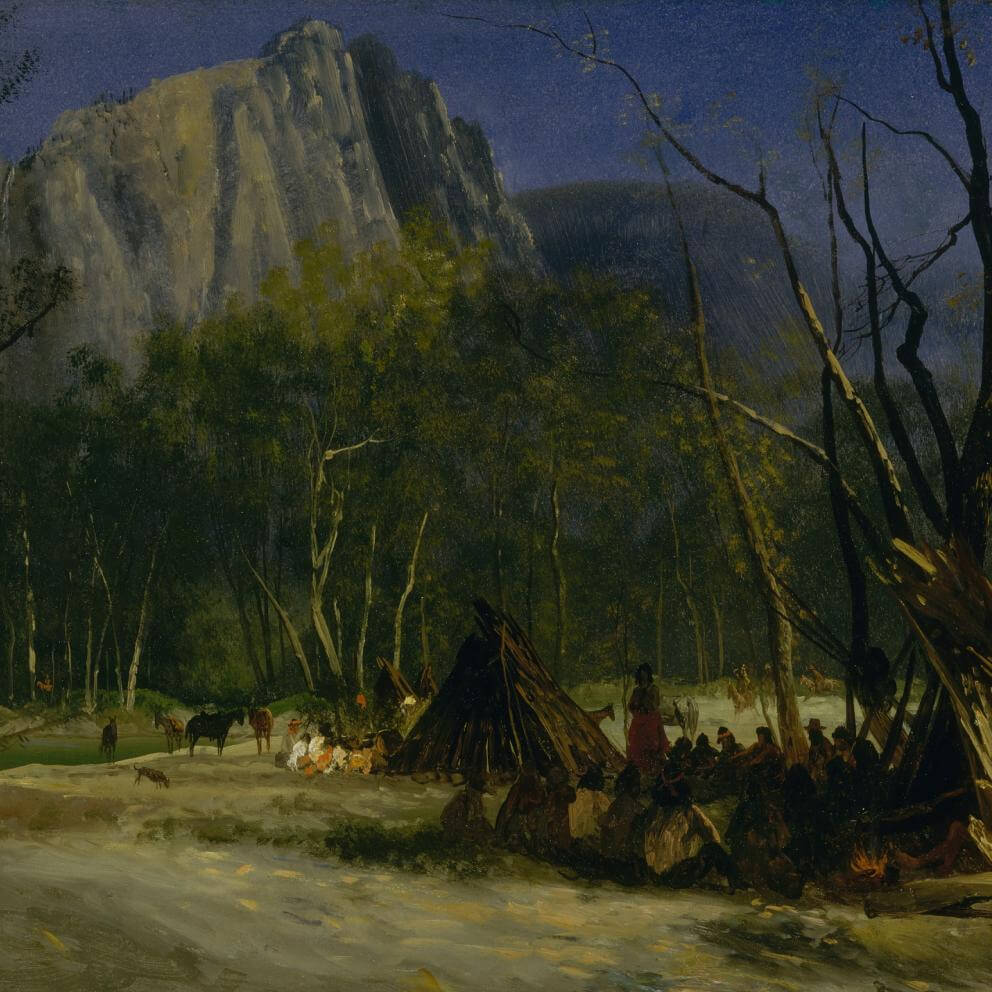 Oil painting 'Indians in Council, California', by Albert Bierstadt, 1872. Dark night scene, people in foreground and mountain in background.