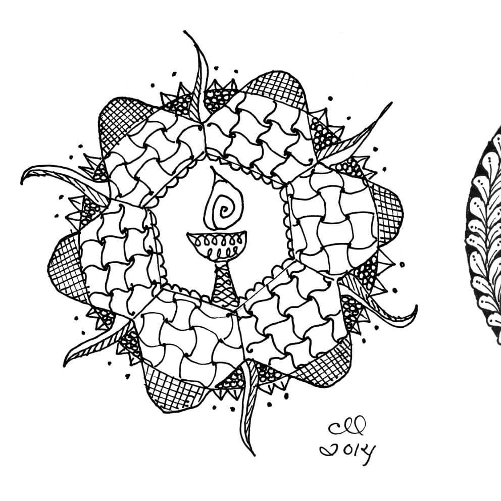 3 black and white doodles called Zentangles.