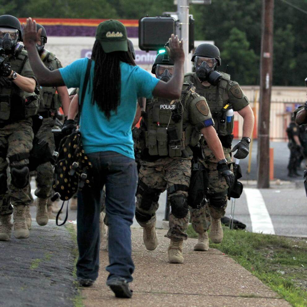 Heavily armed police in Ferguson, Mo., in August 2014.