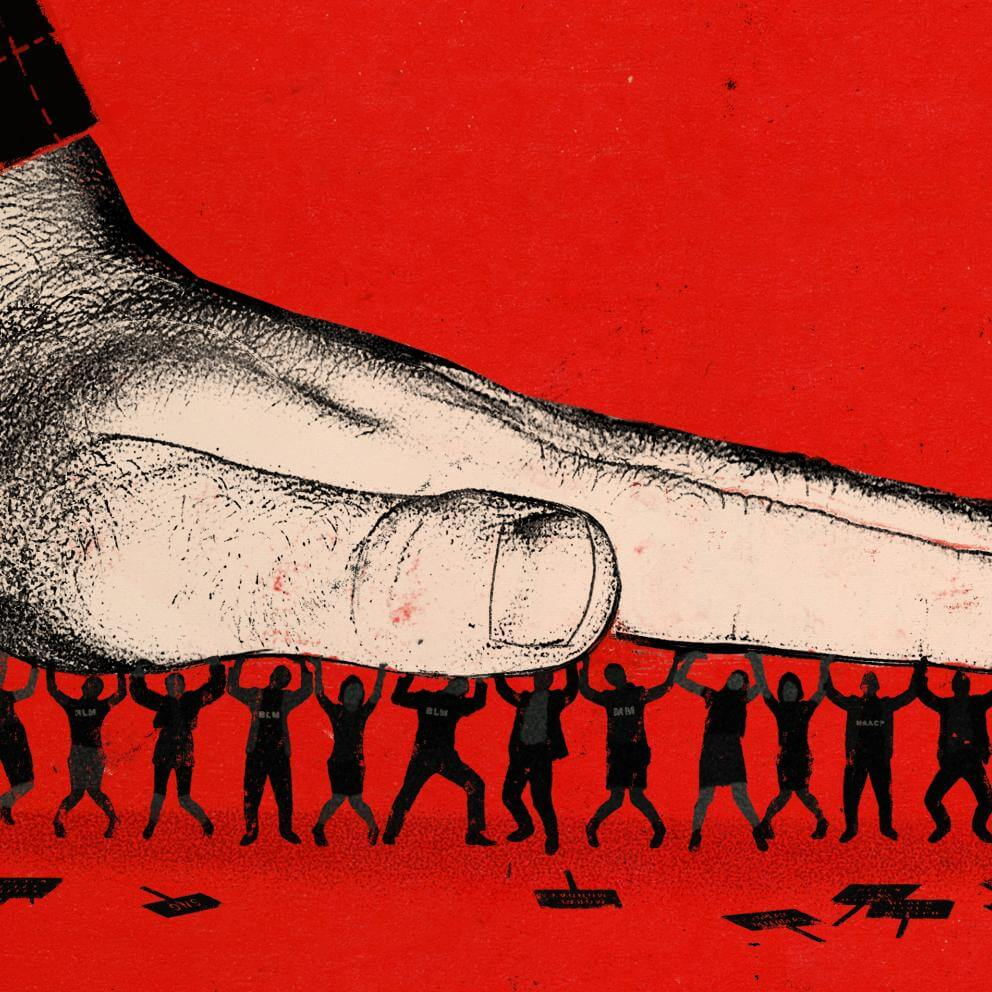 illustration of a group of people, holding up a giant hand that is trying to crush them.