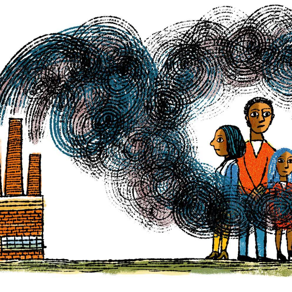 Illustration of family of color surrounded by smoke from a factory