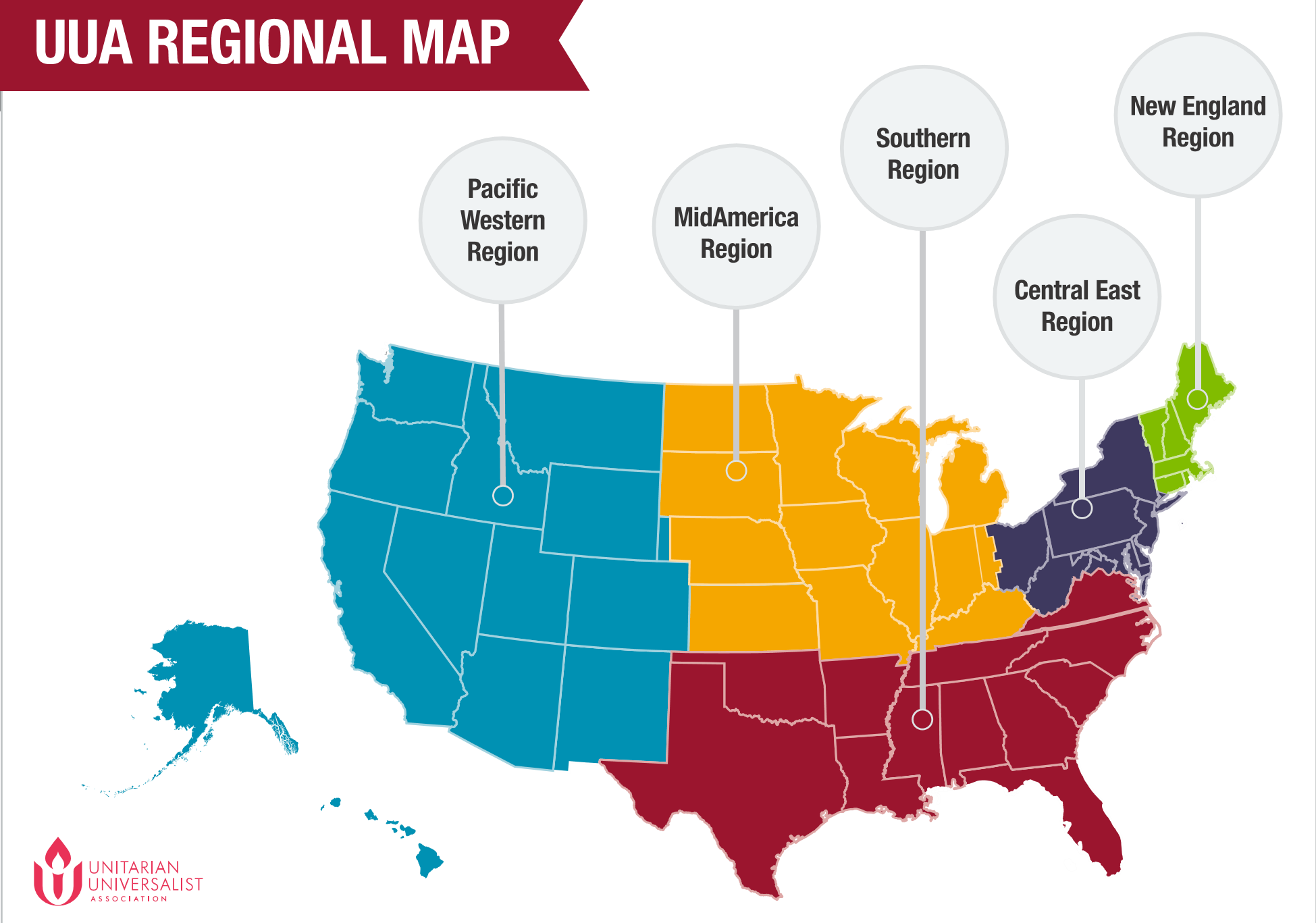 Our Regions  Staff Contact Lists UUAorg - Us map east west midwest